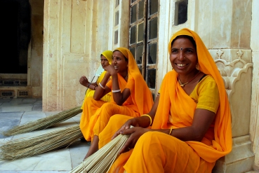 Saffron ladies 2 at Amber Fort, Northern India