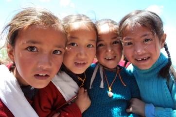 Girls in Kaza, Northern India