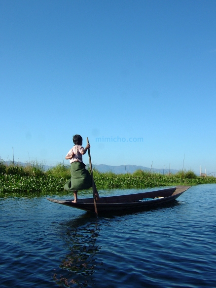 A young leg rower on Inle Lake in the Shan state